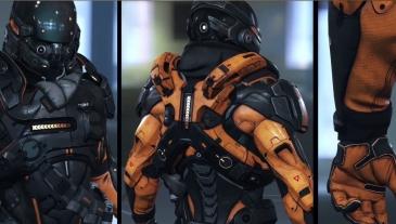 Concept art d'une armure. Le design des armures a fortement évolué.