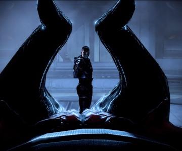Le courtier de l'ombre face à Shepard (capturé du jeu) par celyntheraven.deviantart.com