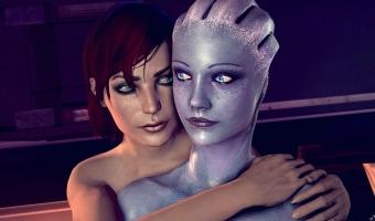Femshep and Liara par rescraft.deviantart.com