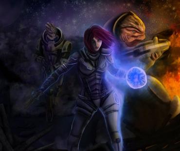 Shepard, Garrus et Grunt par luh-dwolf.deviantart.com
