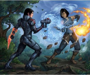 Korra vs Shepard par candra.deviantart.com