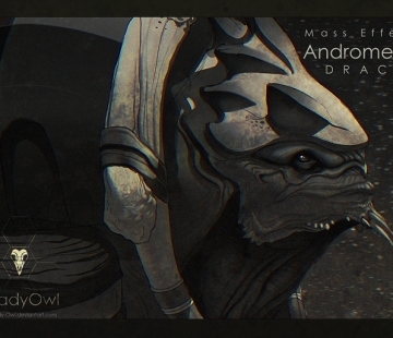 Mass Effect Andromeda Drack [Grayscale] by Lady-Owl.deviantart.com