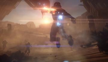 Le soldat prend son envol face à l'ennemi inconnu, dont la forme ressemble partiellement à celle d'un Prothéen