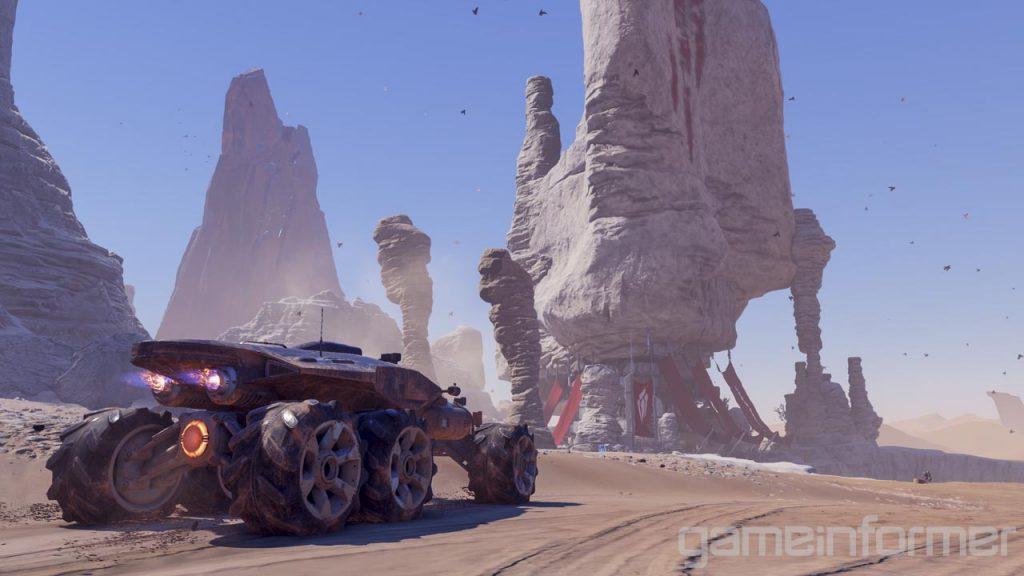 Le Nomad est le véhicule d'exploration au sol, mais dépourvu d'armes. Sur cette image, on voit le Nomad sur la planète Elaaden, un monde désertique.