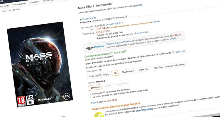 Mass Effect Andromeda sur Amazon