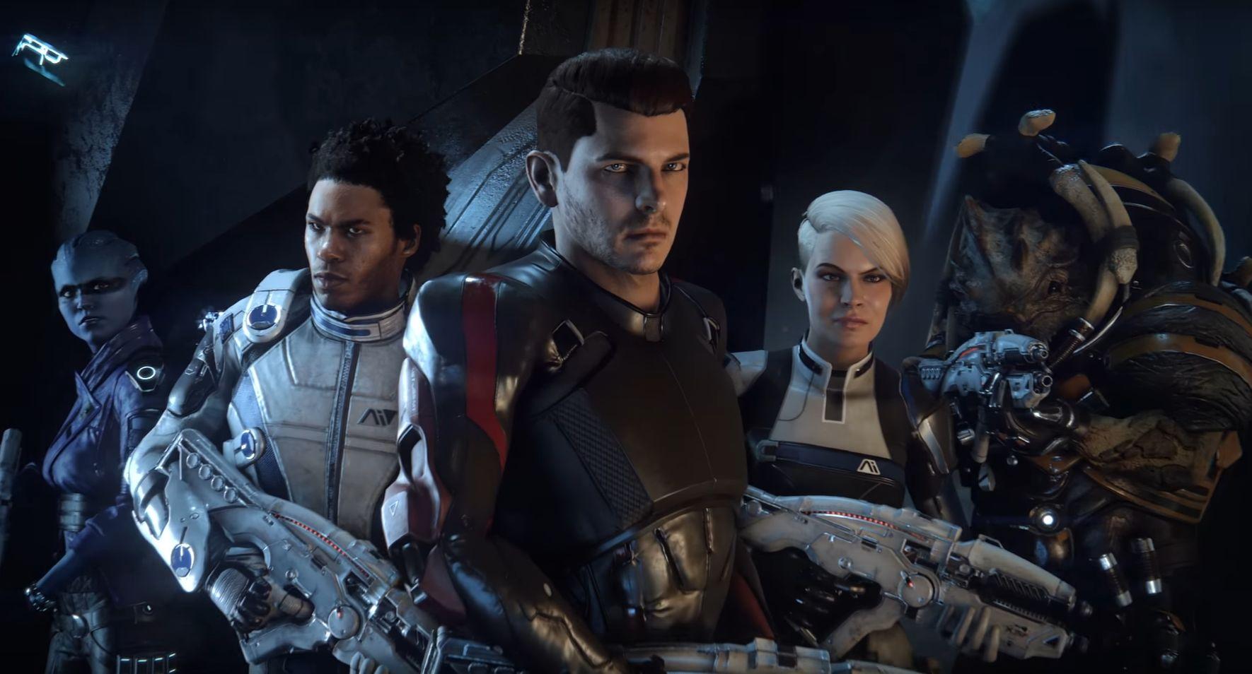 De gauche à droite : Peebee (asari), Liam (humain), Scott Ryder (pionnier humain), Vetra (humaine) et Drack (krogan)